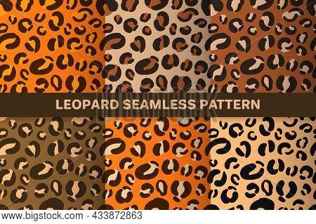 Leopard Or Jaguar Seamless Pattern Set. Trendy Animal Print With Autumn Color Palette. Vector Backgr