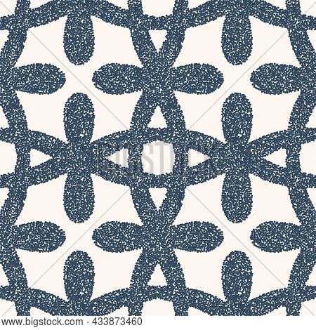 Black And White Seamless Pattern With Dotted Geometric Drawing. Vector Illustration