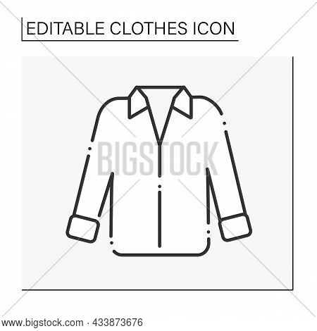 Fashion Line Icon. Oversized Shirt For Work Or Date. Trendy Clothing. Shopping.clothes Concept. Isol