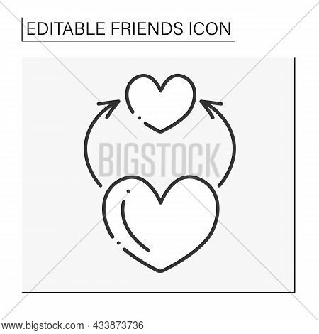 Enjoyment Line Icon. Spend Time Together. Empathy. Love Relationship. Friends Line Icon. Isolated Ve