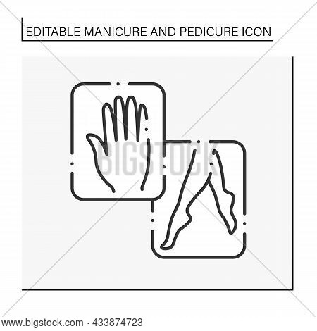 Hands And Feet Mask Line Icon. Skin Moisturizing. Spa Procedure. Manicure And Pedicure Concept. Isol