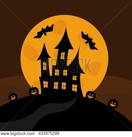 Ghost Castle On The Background Of The Full Moon. Halloween Holiday. Pumpkins And Bats. Horror Backgr