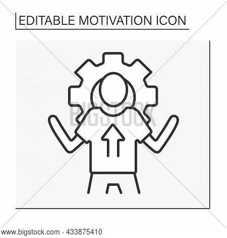 Goal Setting Line Icon. Thoughts For Achieving Goals. Planning. Motivation Concept. Isolated Vector