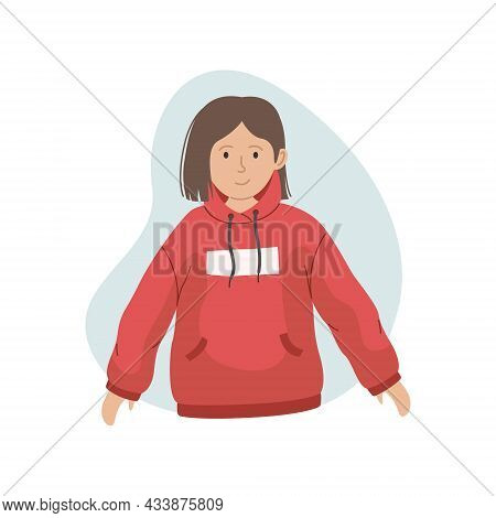 Vector Illustration Of A Girl In A Pink Hoodie. Winter Clothing.