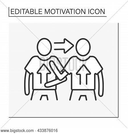 Change Motivation Line Icon. Exchange Motivated Thoughts. Goals Achieved. Communication. Motivation