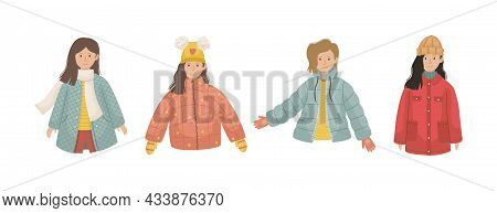 Vector Set Of 4 Illustrations With Girls In Winter Clothes.
