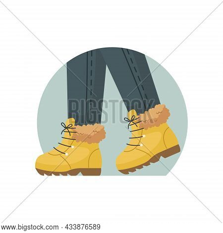 Vector Illustration Of Winter Warm Shoes On The Feet. Winter Clothing.