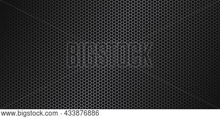 Gray Hexagon Carbon Fiber Texture. Metal Mesh Gray Steel Background. Dark Carbon Fiber Texture.