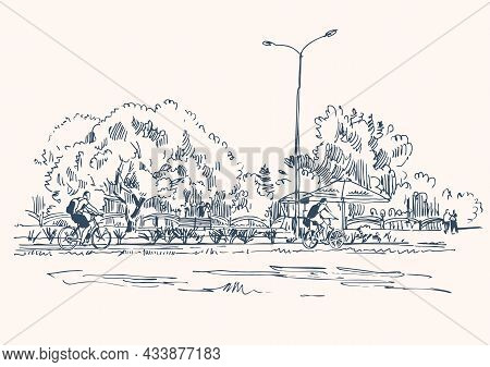 Sketch Of A City Park With Cyclists On A Bicycle Path. Vector Illustration