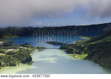 The Green And Blue Lagoon, View From Miradouro Da Vista Do Rei, Sao Miguel Island, Azores. High Qual
