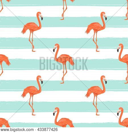 Seamless Flamingo Bird On Blue Striped Background, Repeated Pattern. Tropical Animal. Flat Vector Il