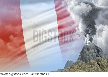 Big Volcano Blast Eruption At Day Time With White Smoke On Peru Flag Background, Troubles Because Of