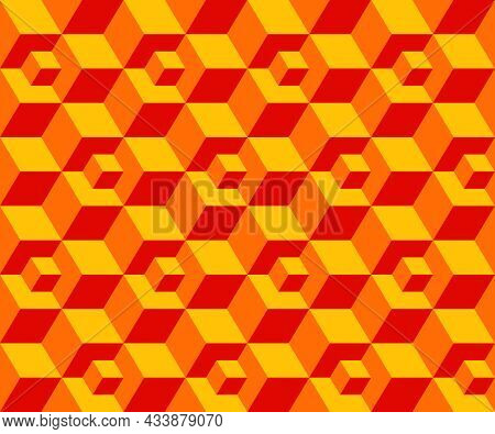 Abstract Background Seamless Geometric Pattern. Cube Shape, Diamond Shape. Yellow Orange Red Color.