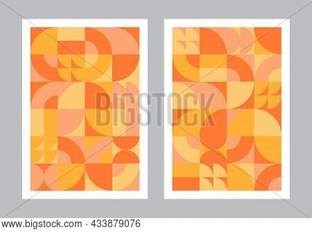 Abstract Geometric Pattern Background. Bauhaus Style Art. Circle, Semicircle, Square Shapes. Orange