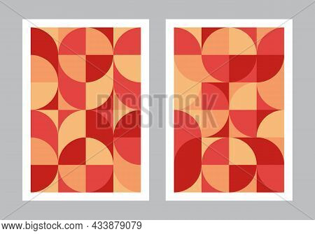Abstract Geometric Pattern Background. Bauhaus Style Art. Circle, Semicircle, Square Shapes. Red And