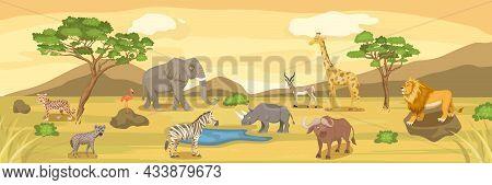 African Savannah Wild Animal Set. Lion, Rhino, Zebra, Buffalo, Giraffe, Flamingo, Leopard, Gazelle,
