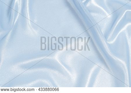 Blue Shiny Pearl Fabric As A Background. Top View.