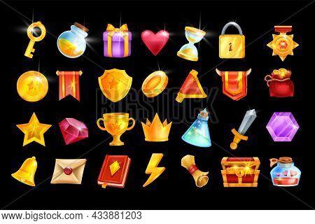 Vector Game Icon Set, Mobile Casino App Object Kit, Rpg Inventory Badge, Golden Trophy Cup, Medal. U