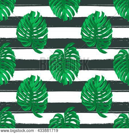 Vector Seamless Pattern With Tropical Leaves On Striped Black And White Background. Repeated Tropica