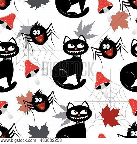 Vector Graphic Seamless Pattern For Halloween Holiday-04