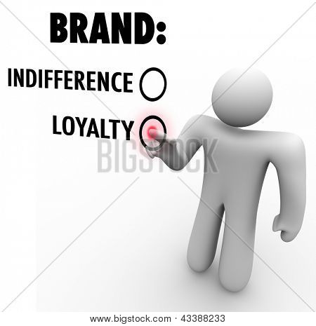 A customer chooses brand loyalty over indifference based on a company or product's reputation as a leader among many choices and competitors