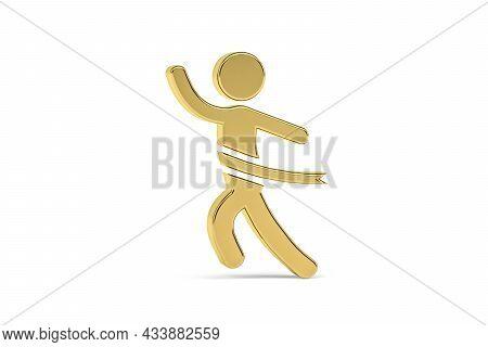 Golden 3d Marathon Icon Isolated On White Background - 3d Render