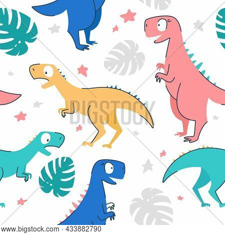 Seamless Patterns. Concept For A Child. Yellow Pink Blue Turquoise Dinosaurs With Monstera Leaves An
