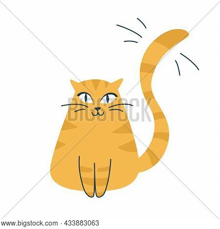 Cute Ginger Cat Is Sitting. Orange Yellow Cartoon Vector Icon Illustration. Animals Icon Concept Iso
