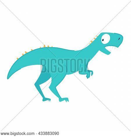 Funny Cartoon Cute Blue Dinosaur. The Frightened Dinosaur Looks Back. Funny Blue Dragon Mascot. Isol