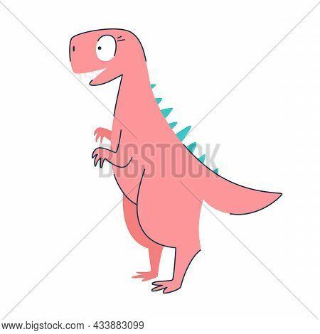 Funny Cartoon Cute Pink Dinosaur. Cute Happy Dinosaur Girl. Funny Pink Dragon Mascot. Isolated Over