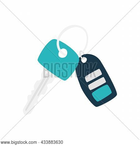 A Simple Flat Vector Illustration Of Car Key And Alarm System Charm Isolated On White Background. Is