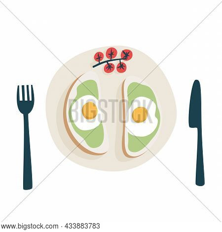 Breakfast Of Toast With Guacamole And Fried Egg. Toast With Cherry Tomatoes On A Plate With A Fork A