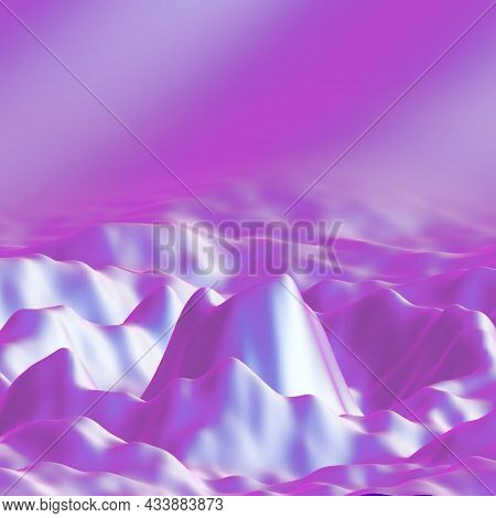 Pink 3d Wavy Forms. Water Surface, Liquid Ripples Or Mountain Fantastic Landscape. Sound Wave Visual