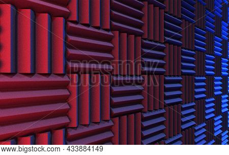 Wall Of Acoustic Foam Panels Illuminated By Red And Blue Lights. 3d Illustration