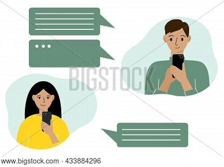 Online Communication Concept. Online Correspondence Of People In Messages. A Man And A Woman Corresp