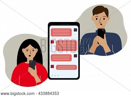 Online Correspondence Of People In Messages. A Man And A Woman Are Fighting By Texting On The Phone.