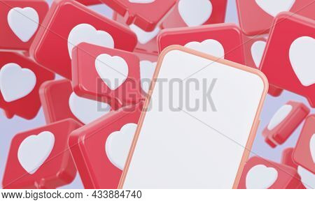 A Mockup Of A Phone With A White Blank Screen. There Are A Lot Of Like Hearts Background Icons Behin
