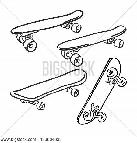 Skateboarding Vector Illustration. Hand Sketched Skateboards Skateboard Vector