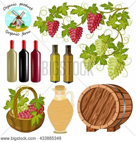 Grapes And Wine Containers.grapevine And Containers With Wine On A White Background In Color Vector