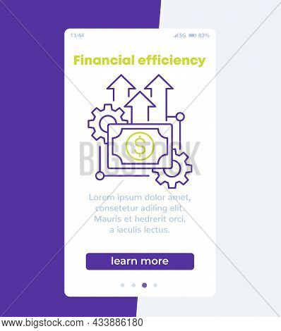 Financial Efficiency, Mobile Banner With Line Icon