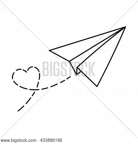 Travel Love Airplane Route. Romantic Valentine Day Concept. Heart Dashed Line Trace With Plane Route