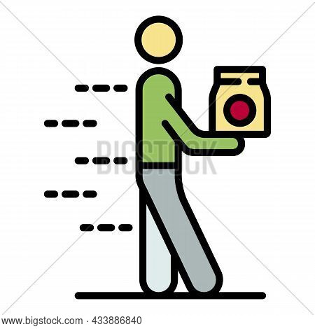 Fast Food Courier Icon. Outline Fast Food Courier Vector Icon Color Flat Isolated