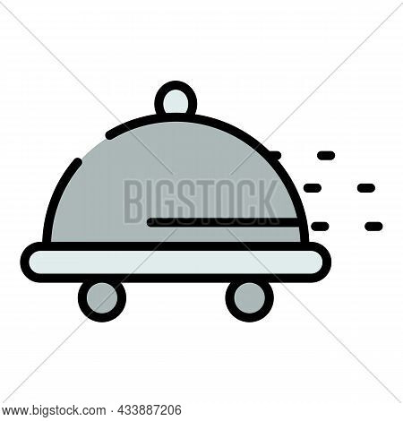 Wheeled Tray Icon. Outline Wheeled Tray Vector Icon Color Flat Isolated