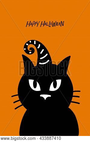 Black Cat With Witchs Cap And Hand Drawn Happy Halloween Text. Halloween Card Vector Isolated On Ora