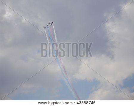 Red Arrows On Hawk T1 In Sky
