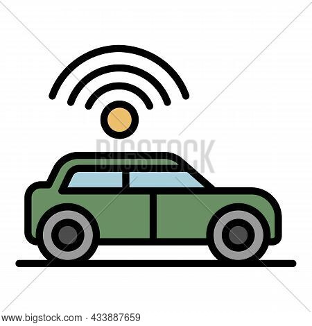 Wifi Sign Over The Car Icon. Outline Wifi Sign Over The Car Vector Icon Color Flat Isolated