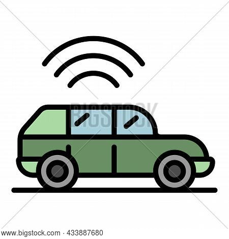 Car And Gps Icon. Outline Car And Gps Vector Icon Color Flat Isolated