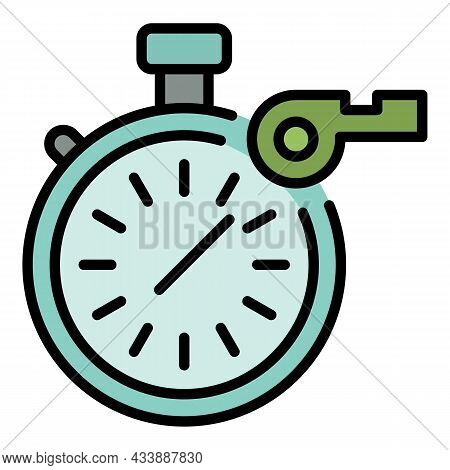 Stopwatch And Whistle Icon. Outline Stopwatch And Whistle Vector Icon Color Flat Isolated