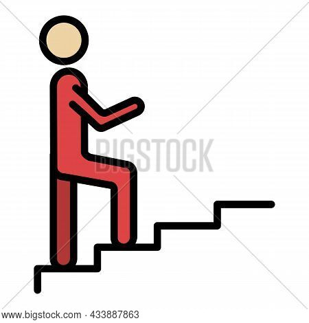 A Man Climbs The Stairs Icon. Outline A Man Climbs The Stairs Vector Icon Color Flat Isolated