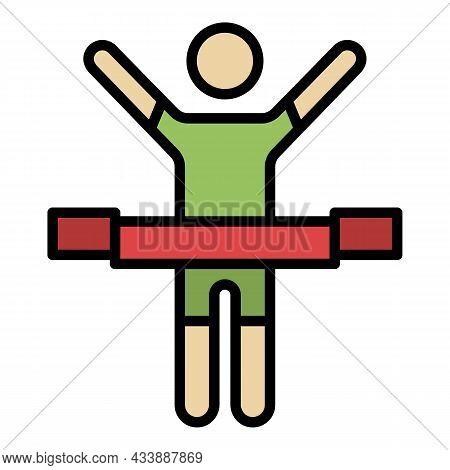 Crosses The Finish Line Icon. Outline Crosses The Finish Line Vector Icon Color Flat Isolated